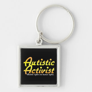 Autistischer Aktivist (Gold) Keychain Silberfarbener Quadratischer Schlüsselanhänger