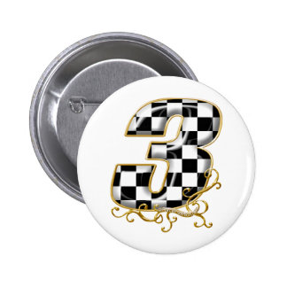 Auto, das Gold der Nr. 3 läuft Runder Button 5,1 Cm