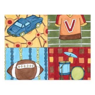 Auto, Jersey, Fußball und Trommel-Ausrüstung Postkarte