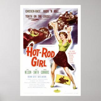 Auto-Mädchen - Vintages Fünfzigerjahre Film-Plakat Poster