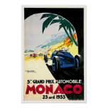 Auto-Rennen-Reise-Kunst Monacos Grandprix Plakate