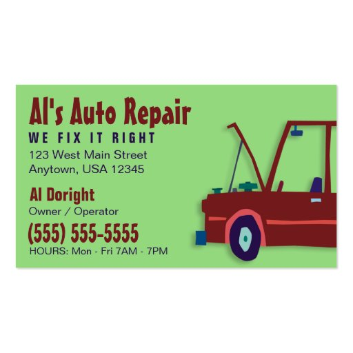 Auto-Reparaturwerkstatt-Geschäfts-Karte Visitenkarten Vorlagen