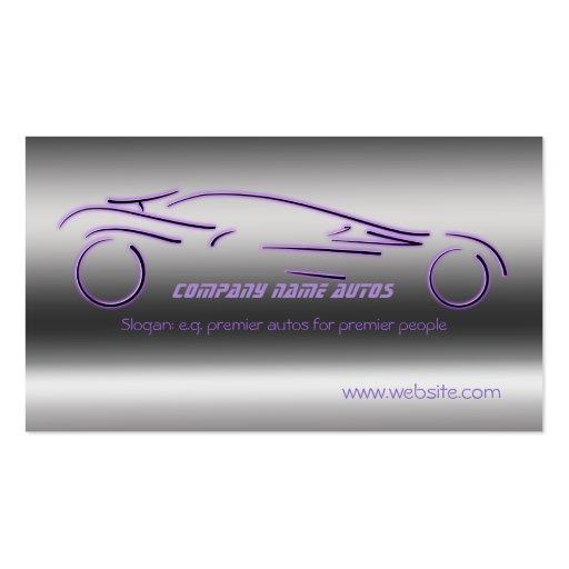 Auto-Verkäufe, lila LuxusSportscar, Stahleffekt Visitenkarten Vorlagen