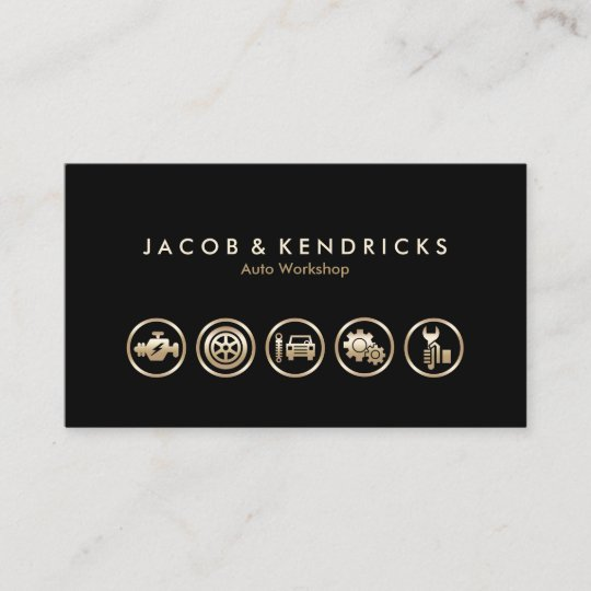 Auto Workshop Gold Icons Businesscard Visitenkarte Zazzle De