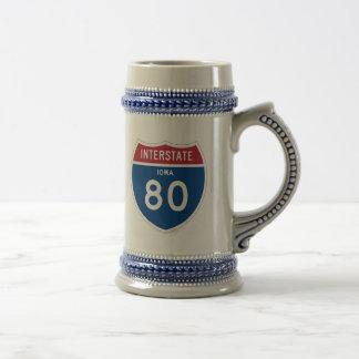 Autobahn-Schild Iowas IA I-80 - Bierglas