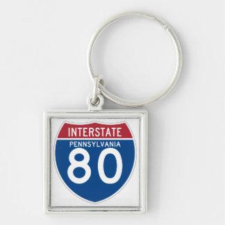 Autobahn-Schild Pennsylvania PAs I-80 - Schlüsselanhänger