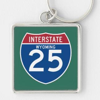 Autobahn-Schild Wyomings WY I-25 - Schlüsselanhänger