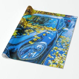 Automobil, Auto - Jahreszeit des gefallenen Geschenkpapier