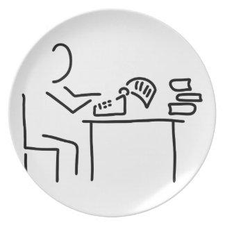autor schriftsteller schreibmaschine melaminteller