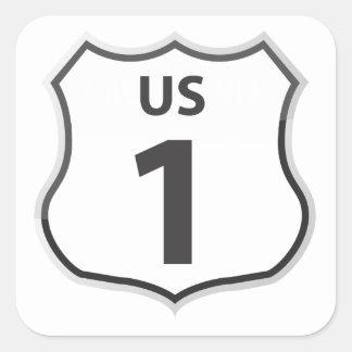 Autoreise-Reise-Aufkleber US-Landstraßen-1 Quadratischer Aufkleber