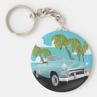 Autoreiseplakat Kubas Vintages Schlüsselanhänger
