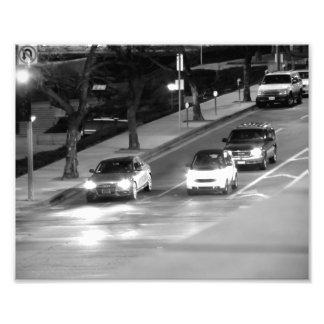 Autos an einem Bremslicht Fotodruck