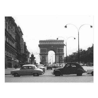 Autos u. Bogen-Vintage schwarze u. weiße Postkarte