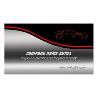 Autotrade Auto - rotes Sportscar auf Stahleffekt Visitenkarten
