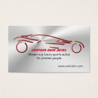 Autotrade - Rot trägt Auto auf erweiterndem Visitenkarten