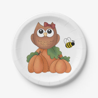Autumn Fall Harvest Holiday Owl Pumpkin Bumble Bee Pappteller