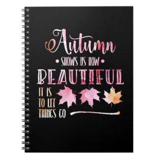 Autumn leaves, fall - Goodbye, poem. Calligraphy Notizblock