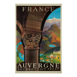 Auvergne, Frankreich, Reise-Plakat Poster