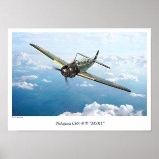 "Aviation Art Poster "" Nakajima C6N Myrt 彩雲"""