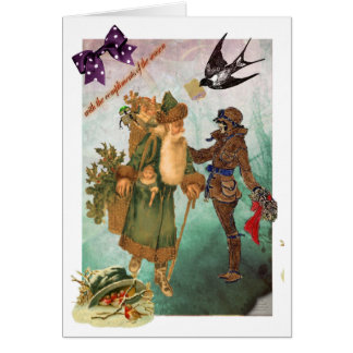 Aviatrix collaged steampunk Weihnachtskarte Karte