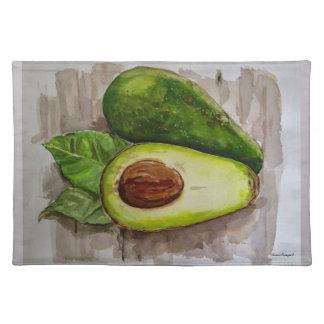 Avocado-Aquarell-Kunst-Stoff-Platz-Matte Stofftischset