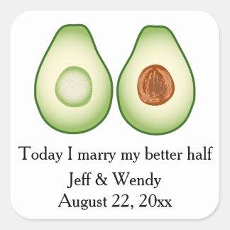 Avocado-Gastgeschenk Hochzeit Quadratischer Aufkleber