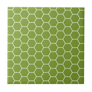 Avocado-grünes Bienenwaben-Hexagon-geometrisches Keramikfliese