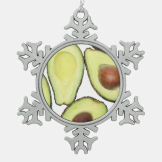 Avocado-Muster Schneeflocken Zinn-Ornament