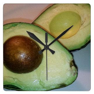 Avocado-Wanduhr Quadratische Wanduhr