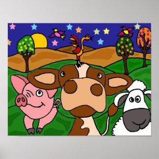 AVW, lustiges Volkskunstbarnyard-Tier-Plakat Poster