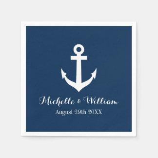 Aweigh Hochzeitsservietten der Marineblau-Seeanker Papierserviette