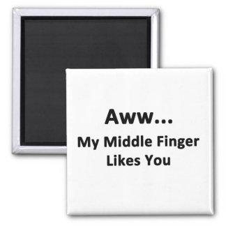 Aww… mein Mittelfinger mag Sie Quadratischer Magnet