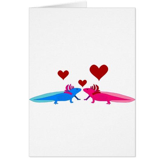 Axolotl in Love Karte