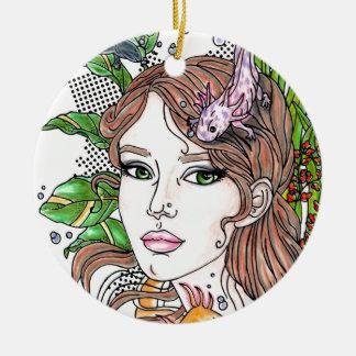 Axolotl-Liebe Rundes Keramik Ornament