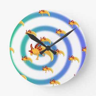 Axolotl Strudel Blau Runde Wanduhr