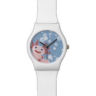Axolotl und der Blasen-mutige vektorentwurf Uhr