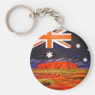 Ayers Felsen und australische Flagge Schlüsselanhänger