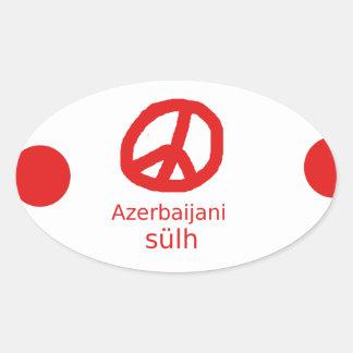 Azerbaijani Sprache und Friedenssymbol-Entwurf Ovaler Aufkleber