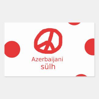 Azerbaijani Sprache und Friedenssymbol-Entwurf Rechteckiger Aufkleber