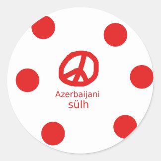 Azerbaijani Sprache und Friedenssymbol-Entwurf Runder Aufkleber