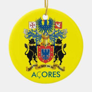 Azoren-Flaggen-Weihnachtsverzierung Rundes Keramik Ornament