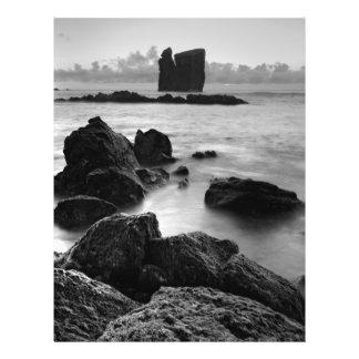 Azorenschwarzweiss-Meerblick 21,6 X 27,9 Cm Flyer