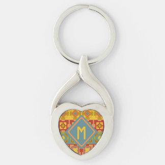 Aztekische Muster-Metallherz-Initiale Keychain Silberfarbener Herz Schlüsselanhänger
