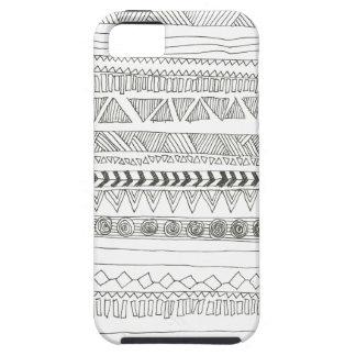 Aztekischer Stammes- Schwarzweiss-Druck Etui Fürs iPhone 5