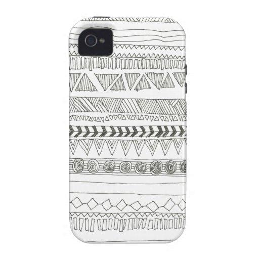 Aztekischer Stammes- Schwarzweiss-Druck iPhone 4 Case