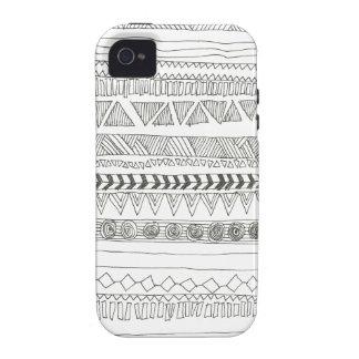 Aztekischer Stammes- Schwarzweiss-Druck Vibe iPhone 4 Hülle