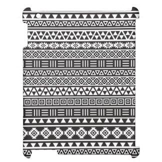 Aztekisches Art-Wiederholungs-Muster - Monochrom iPad Hülle