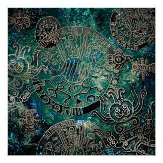 Aztekisches Blues Plakat-Papier (Halb-Glanz) Poster