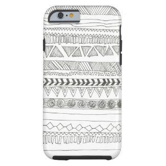Aztekisches Schwarzweiss-Stammes- Tough iPhone 6 Hülle