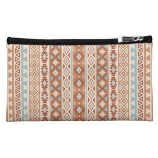 Aztekisches stilisiertes (V) Muster-blaue Makeup-Tasche